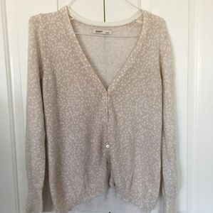 Old Navy Button Up Cardigan Spotted Feminine Cream